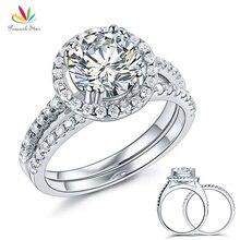 Павлин Звезда серебро 925 пробы Свадебные для годовщины помолвки Halo Набор Колец 2 Ct Свадебные украшения CFR8218