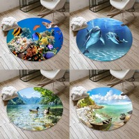 Else Aquarium Blue Dolphins Sea Beach 3d Non Slip Microfiber Round Carpets Area Rug For Living Rooms Kitchen Bedroom Bathroom