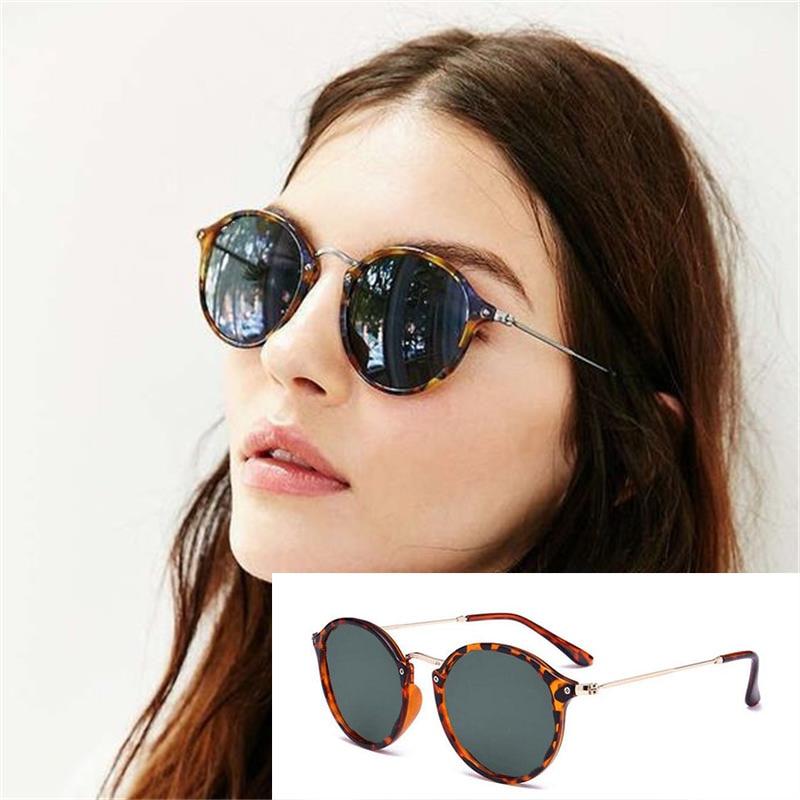 Lunettes de soleil rondes pour hommes et femmes, mode, styliste de marque, léopard vert, rétro, ombres dété, Points de luxe UV