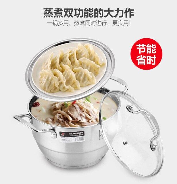 Qulaity Tinggi 304 Stainless Steel Soup Pot Mini Tebal Satu Lapisan Kecil Rumah Tangga Steamer Cooker Oven Elektromagnetik Pan Panci