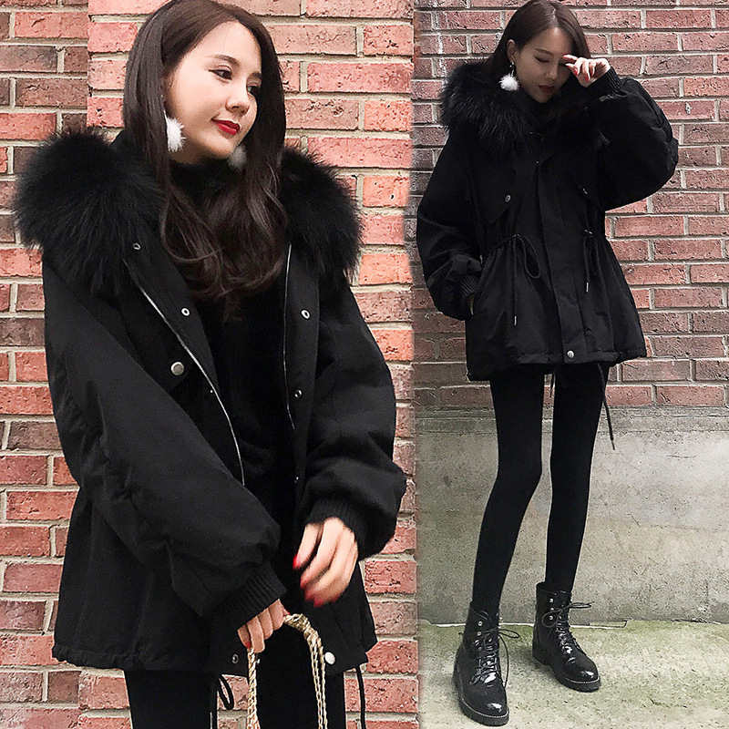 Black slim fur   parka   women winter cotton coat thick adjustable waist A line wadded coat padded outwear short big fur white   parka