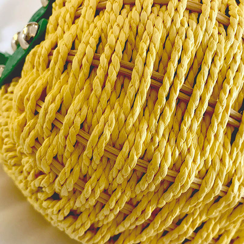 Women Pineapple Handbag Female Messenger Bags Straw Beach Crossbody Bag Lady Fashion Rattan Clutches Tote Knitted SS3010 (10)