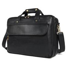 Men s Briefcase Black Business 15 Laptop Vintage Fashion Genuine Leather Travel Handbags Bag Man CasualShoulder