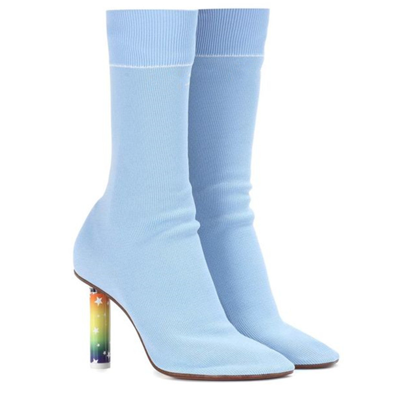 Tamaño Del Alto Pic Sexy Ligero Más Pic Mujer De 40 Extraño As as Tacón Inpired Calcetín Diseñador Botas Negro Stretch Zapatos Talón Azul Marca wfYqUU