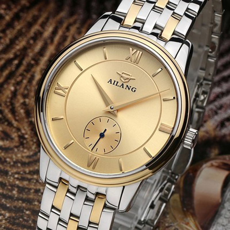 AILANG luxury brand high-quality automatic mechanical watch ultra-thin shell waterproof pointer dial stainless steel strap ultra luxury 2 3 5 modes german motor watch winder white color wooden black pu leater inside automatic watch winder