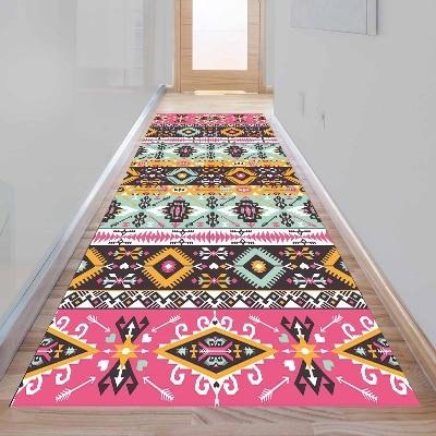 Else Aztec Pink Blue Ethnic Tiles Design 3d Print Non Slip Microfiber Washable Long Runner Mat Floor Mat Rugs Hallway Carpets