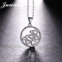 JUWANG Round Circle with Hearts Pendant Charms Femme Necklace 3 Colors Gold Color Chain Necklaces & Pendants Jewelry Gift