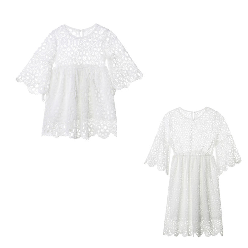 Family Matching Clothes Women Kids Girls Floral Wedding Party Prom Dress Baby