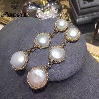 ANI 14 к рулон желтого золота для женщин жемчуг Висячие серьги натуральный в стиле барокко белый жемчуг висячие серьги сережки oorbellen ювелирные