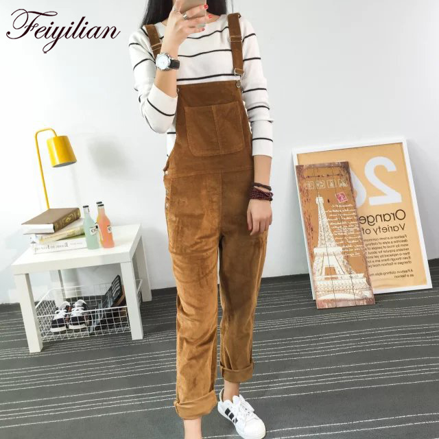 2018 Autumn New Slim-type Corduroy Overalls Female New Mori girl pocket Solid color Pants Cute Casual   Jumpsuits