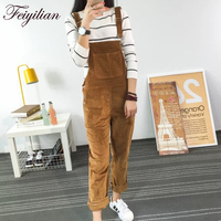2018 Autumn New Slim type Corduroy Overalls Female New Mori girl pocket Solid color Pants Cute Casual Jumpsuits