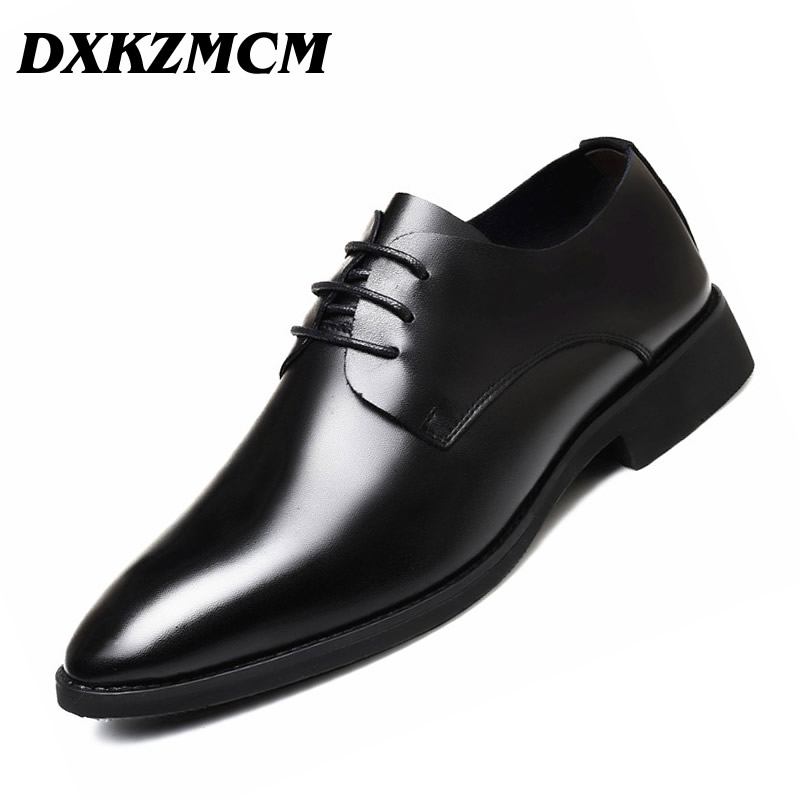 DXKZMCM Men Formal Shoes Men Dress Shoes Brand Men Leather Shoes Men Classic Business aomardon men