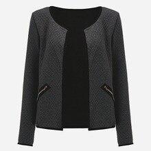 Nibesser Slim Fit Открыть стежка куртка Для женщин Осень с длинными рукавами и круглым вырезом пальто джинсовый жакет Chaqueta Mujer 2017 плюс Размеры 4xl