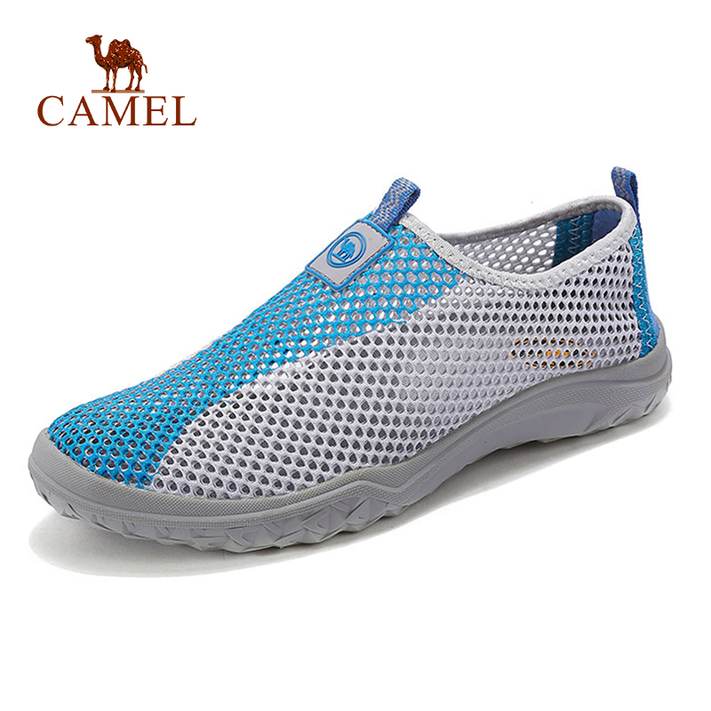 CAMEL Men Outdoor Slip On Mesh Shoes Casual Summer Breathable Non slip Outdoor Walking Flat Shoes