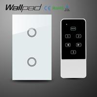 White AC110 240V Crystal Glass 2 Gangs 1 Way Wireless Remote Control Switch AU US Standard