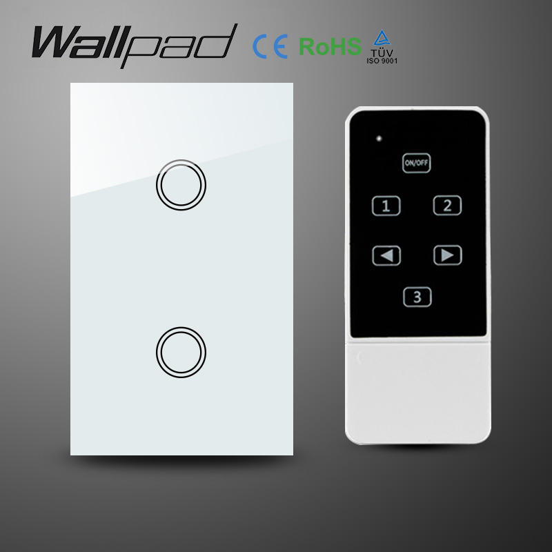 White AC110-240V Crystal Glass 2 Gangs 1 Way Wireless remote control Switch,AU US Standard RF remote touch Switch, Free Shipping