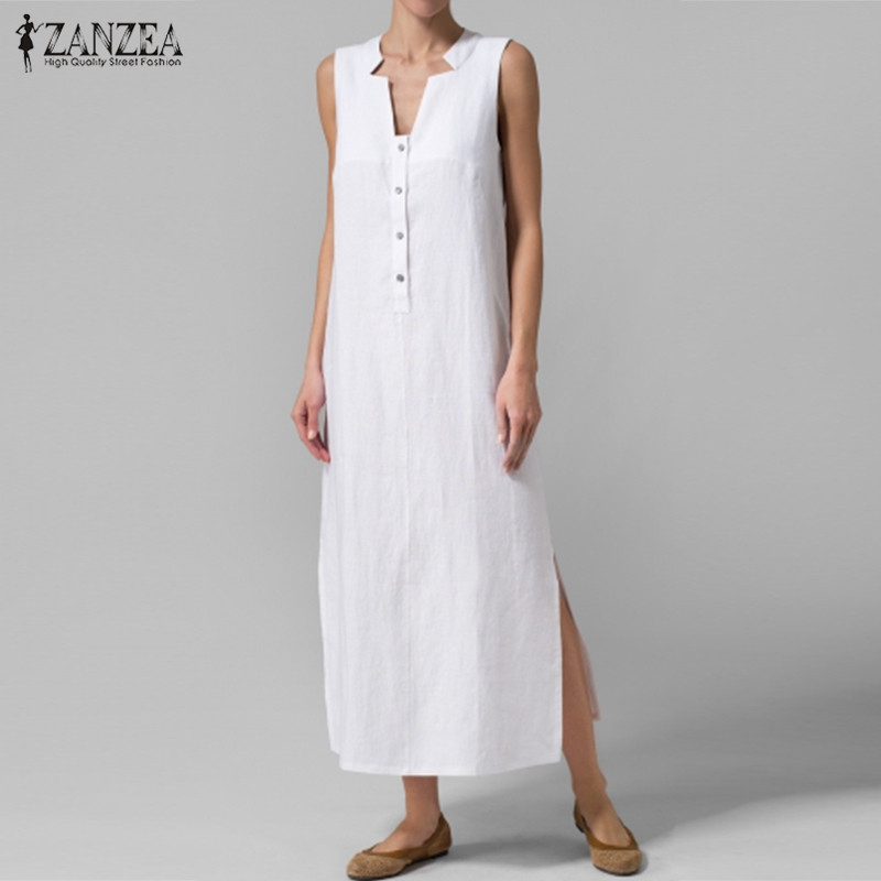 ZANZEA Women Dress 2018 Summer Sexy V Neck Sleeveless Maxi Long Dresses Casual Loose Solid Party
