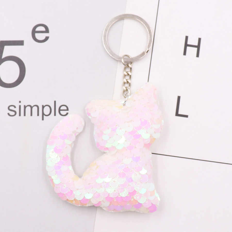 1 Uds. Delfín estrella unicornio animal llavero pompones con brillo lentejuelas llavero de regalo para mujeres bolso y accesorios para coche llavero joyería