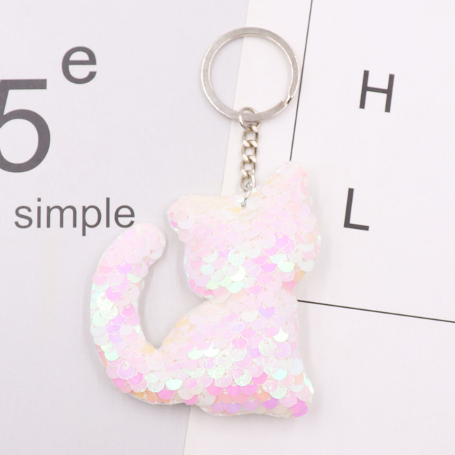 1PCS Dolphin Star Unicorn animal Keychain Glitter Pompom Sequins Key Chain Gifts for Women  Car Bag Accessories Key Ring Jewelry 4