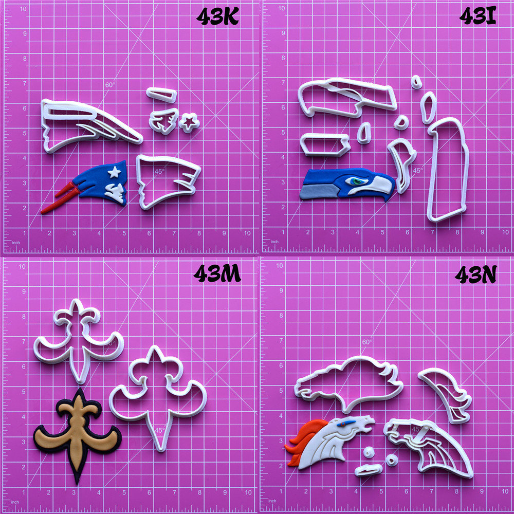 National Football Team Logo Design Cookie Cutters Set Cake Cutter Custom Made 3D Printed Fondant Tools Cake Decorating Tools