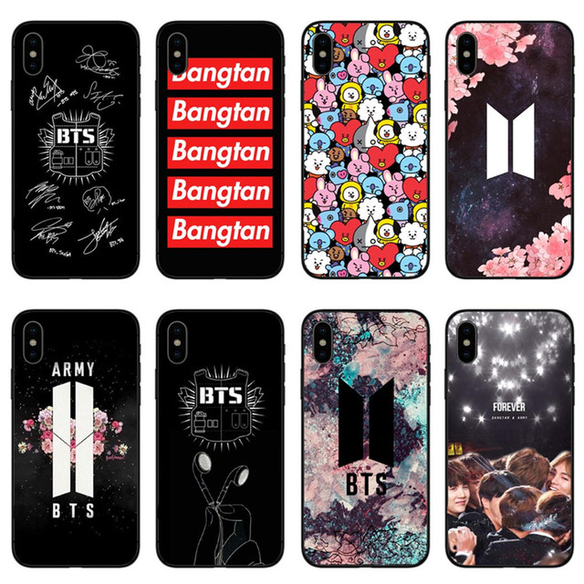 premium selection 19b7e ef6d7 US $2.07 39% OFF|BTS Korea Bangtan Boys Young Forever BT21 Black silicone  TPU Phone Cases Cover for iPhone 5 5s SE 6 6S Plus 7 7Plus 8 8 Plus X-in ...