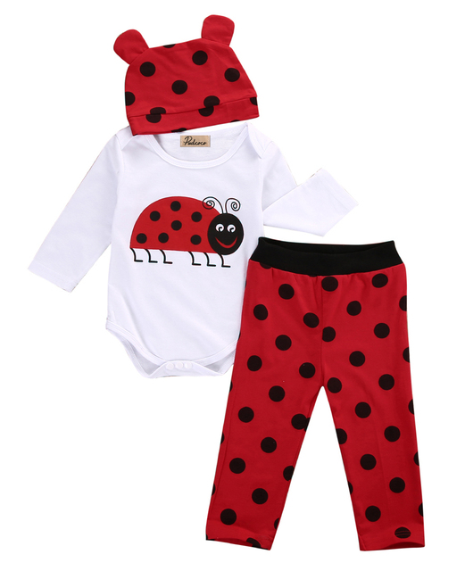 2f66ef47a Emmababy ladybugs Printed Baby Clothes Set 3Pcs/Set 0-18M Newborn Baby Boys  Clothes