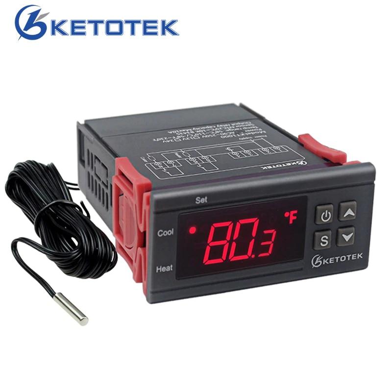 KT1000 Incubadora Termostato Digital Controlador De Temperatura de Dois Saída de Relé 110 V 220 V 10A Legal Calor Celsius Fahrenheit Exibição
