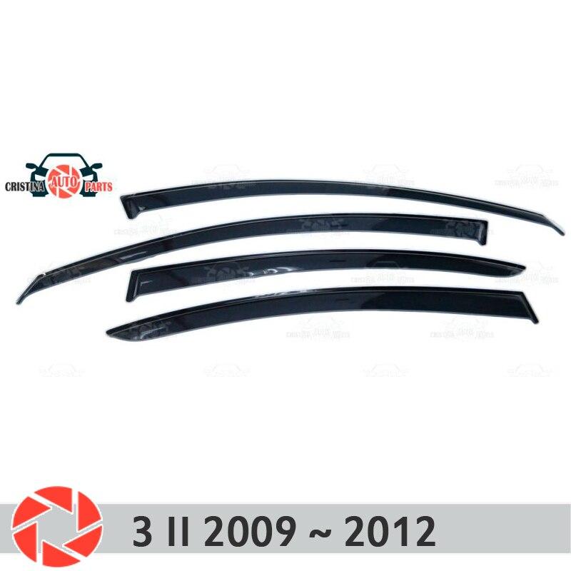 Deflector janela para Mazda 3 2009 ~ 2012 chuva defletor sujeira proteção styling acessórios de decoração do carro de moldagem