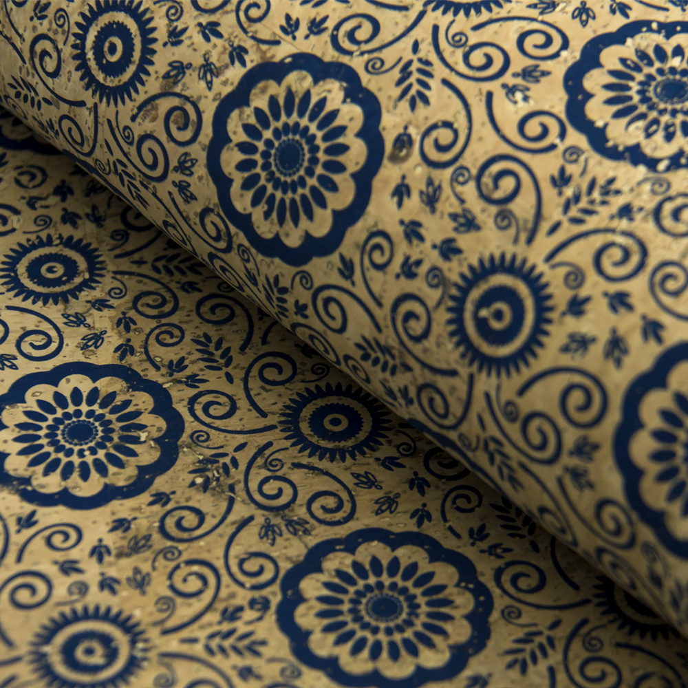 PORTUGAL cork fabric 68x50cm/135x100cm Blue flowers pattern Cork leather Vegan waterproof Abrasion resistance COF-151 flowers butterflies pattern waterproof shower curtain
