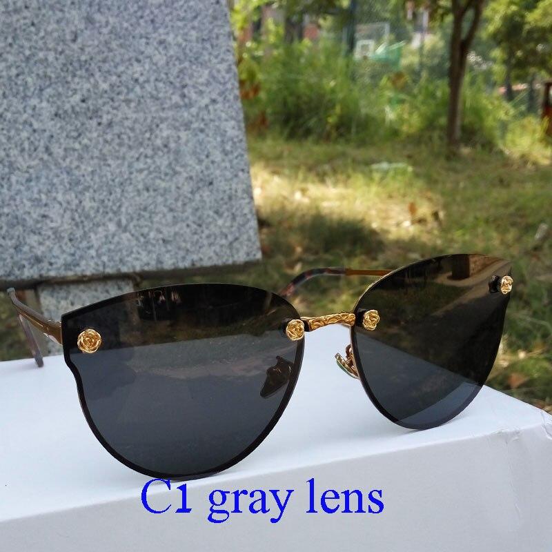 nya lyxiga solglasögon kvinnor polariserade metallram glasögon - Kläder tillbehör