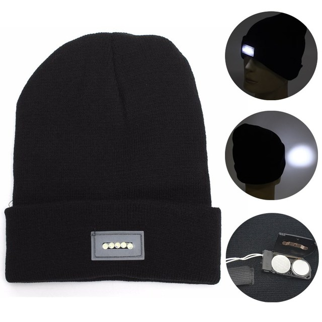 LED Light Unisex Knit Beanies Hat Fall Winter Men Women Black Knitted Wool  Gorros Cap Camouflage 8b5e4b2e71e