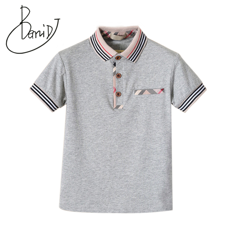 цена на Children T-Shirts Boys Turn-Down Collar Short Sleeve Cotton T-Shirts Kids 4 Color For 1-5T Fashionable Luxury Clothes Tee Shirt
