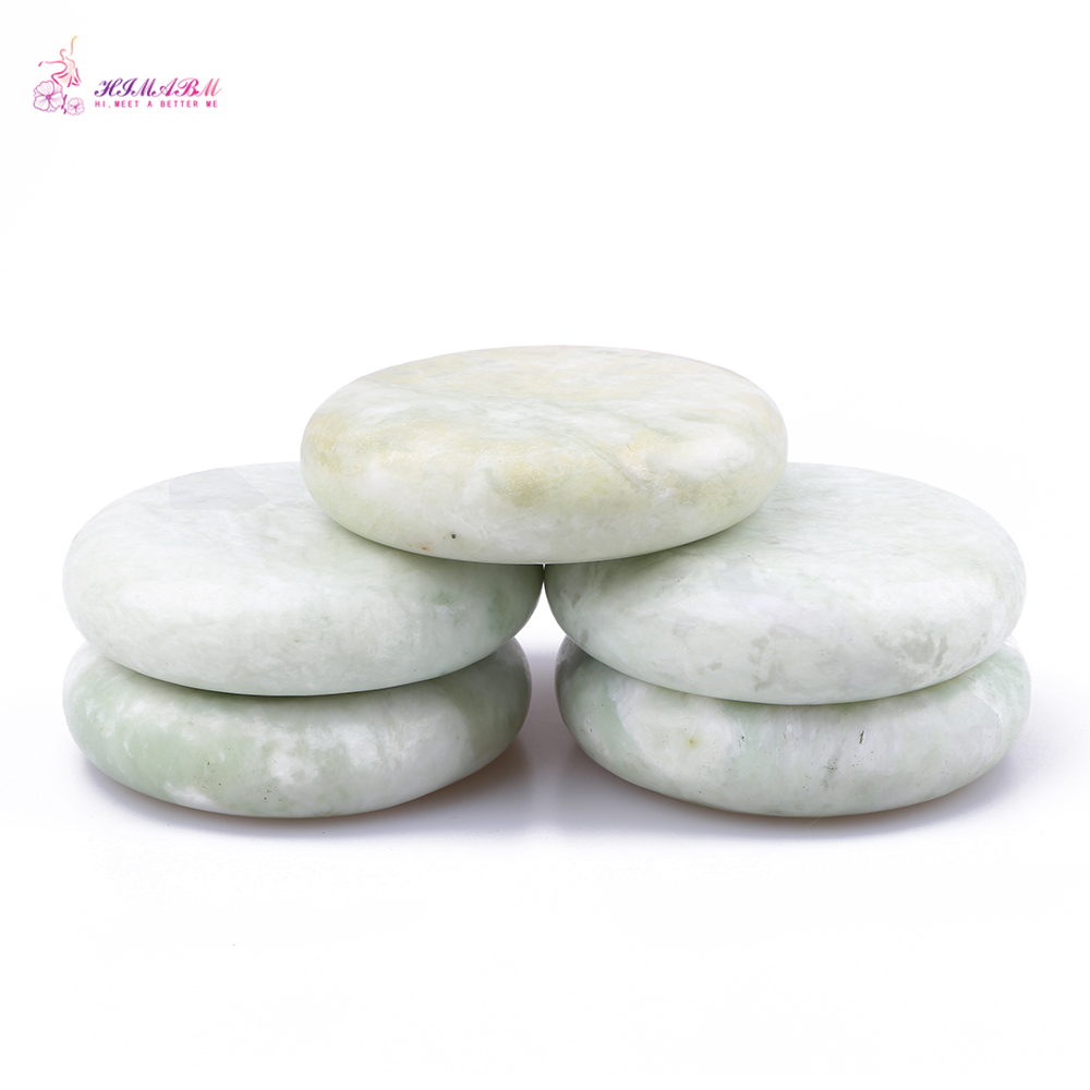 HIMABM 5 Pieces Natural Light Green Xiuyan Jade Hot Spa Basalt Stone Massage Basalt Stone Lava Rocks 80*80*20mm wholesale