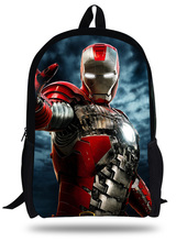 16-inch Kids School Backpack Iron man For Child Age 7-13 Children Bags Boys Superman Mochila Infantil