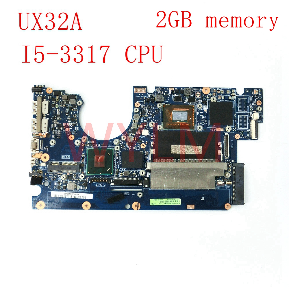 UX32A With I5-3317 CPU 2GB memory mainboard For ASUS UX32A UX32V UX32VD laptop motherboard Tested Working Well free shipping board for 250 044 901d 2gb dae lcc well tested working
