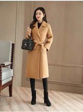 NiceMix 2019 autumn Winter Women Slim Wool Coat Long Sleeve Outerwear Cloak Overcoat Elegant Plus Size Red Woolen Jacket