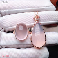 KJJEAXCMY boutique jewels 925 Silver inlaid Natural Hibiscus Stone Ring Pendant Set Support Detection