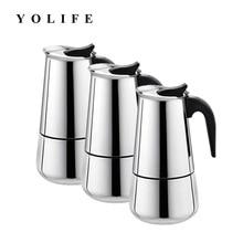 2 - 6 ჭიქა უჟანგავი ფოლადის მოკა ყავის მწარმოებელი Mocha Espresso Latte Stovetop ფილტრი ყავის ქოთნის პერკულატორული ხელსაწყოები