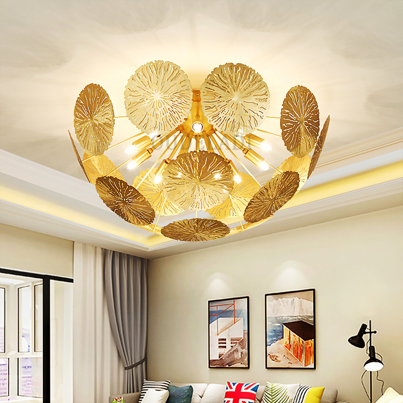 Honesty Modern American Copper Art Hollow Lotus Leaf Ceiling Lights Zen Creative Living Room Bedroom Restaurant G9 Lights & Lighting