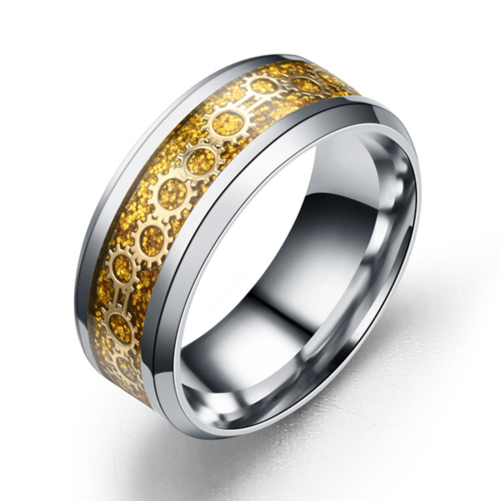 Fashion Gear Inlay Stainless Steel Ring Men Women Personality Jewelry Gift