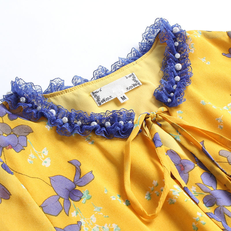Chic Des Floral De Mousseline Vêtements Printemps Patchwork Femmes 2018 Imprimé Prairie Élégantes Dentelle Taille La Robes En Soie Plus Perlé Dames Robe 5xl Jaune XukZiOPT