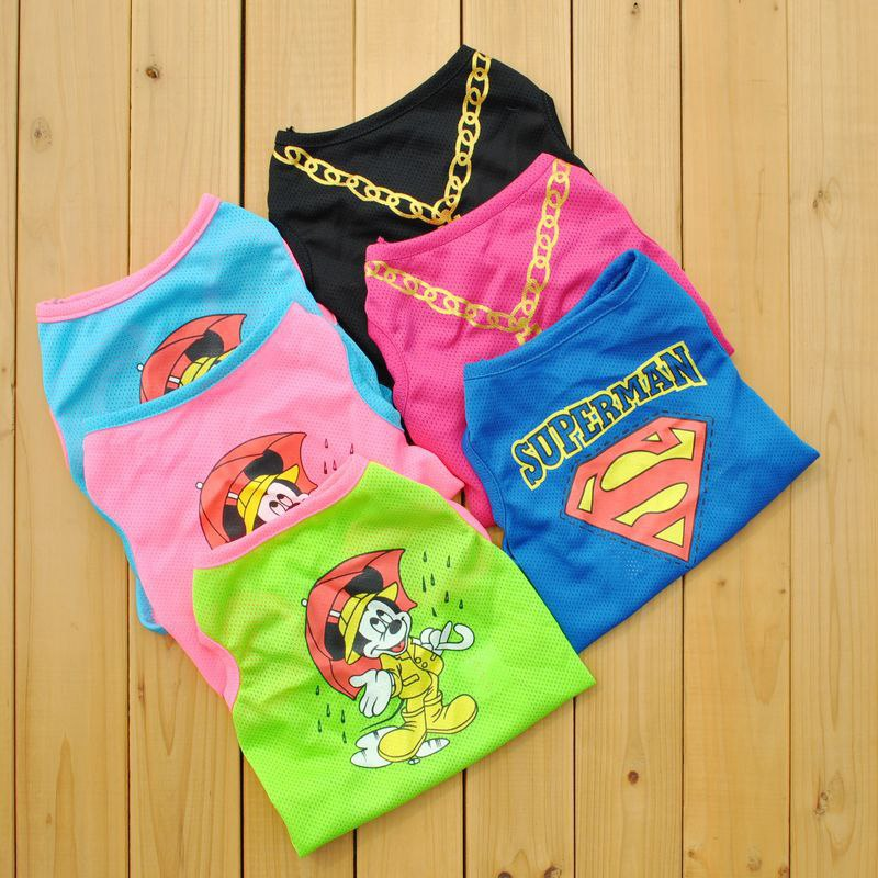 Cartoon Printed Superman Shirt Dog Shirts In Dog Clothing Cute Mouse Cat Apparel Sweetheart Cool Pet Chihuahua Pug Poodle E