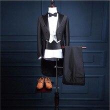 5 Piece (Jacket+Pants+Vest+Bow tie+Belt) 2017 High Quality m