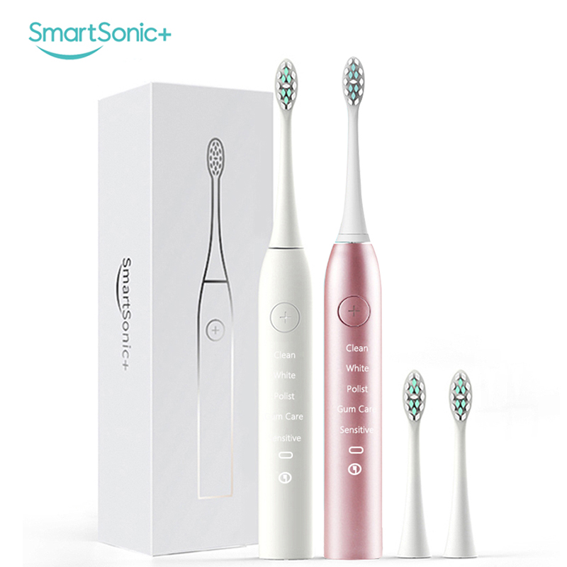 SMARTSONIC+ Sonic Electric Toothbrush Cleaning Brush Teeth Waterproof Usb Charging Tooth Brush with 2 Replacement Dupont Heads touchbeauty 3 in1 rotating facial cleansing brush set with 3 replacement brush heads 2 speed settings with storage box tb 0759a