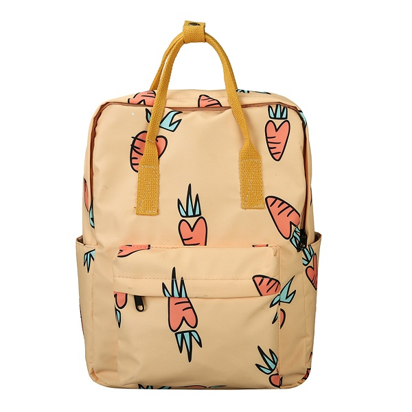Carrot Print Canvas School Backpack - womens-school-backpacks, womens-canvas-backpacks, womens-bags, new-arrivals, mens-school-backpacks, mens-canvas-backpacks, mens-bags, google-feed-new