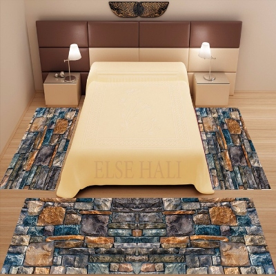 Else 3 Piece Navy Blue Brown Gray Stones Vintage 3d Print Non Slip Microfiber Washable Decor Bedroom Area Rug Carpet Set