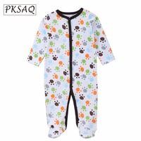 PKSAQ Fashion Brand Design Baby Clothes Rompers 100 Cotton Long Sleeves Pajamas Cartoon Printed Newborn Girls