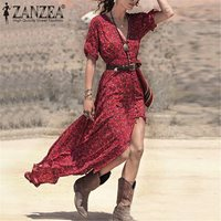 Women Summer Dress Casual Sexy V Neck Belted Split Maxi Long Vestidos S M L Red