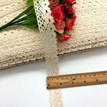 2.5cm 20y/lot White Beige Cotton Lace Hometexile Cloth Wrap Knitting Embellishments DIY Patchwork Craft Lace Trims scrapbooking