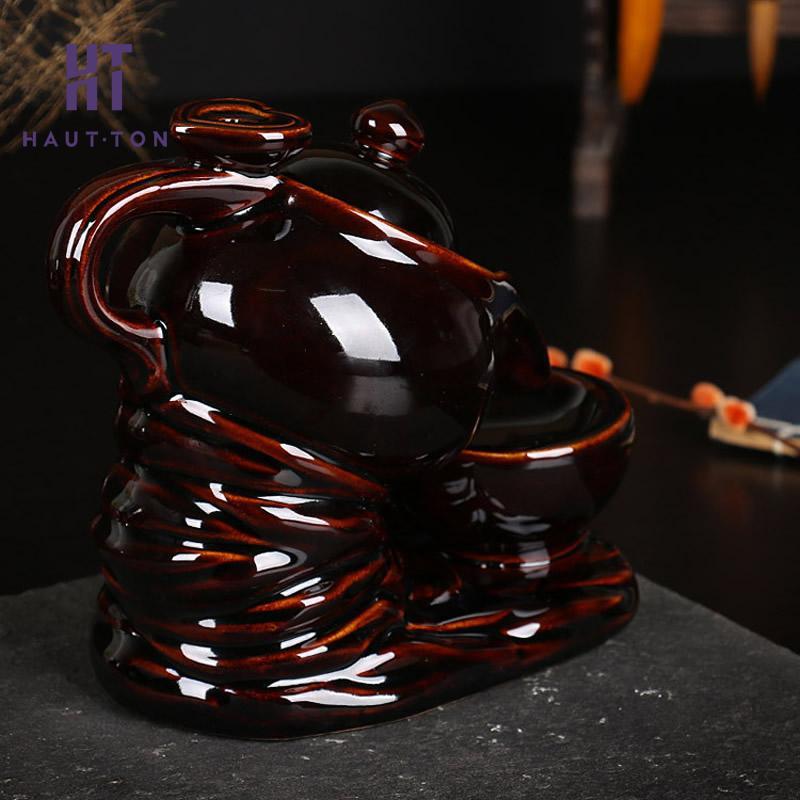 Ceramica Tea Pot Fumo Riflusso Torre Bruciatore di Incenso Censer Decorazione Della Casa 170x105x160mm